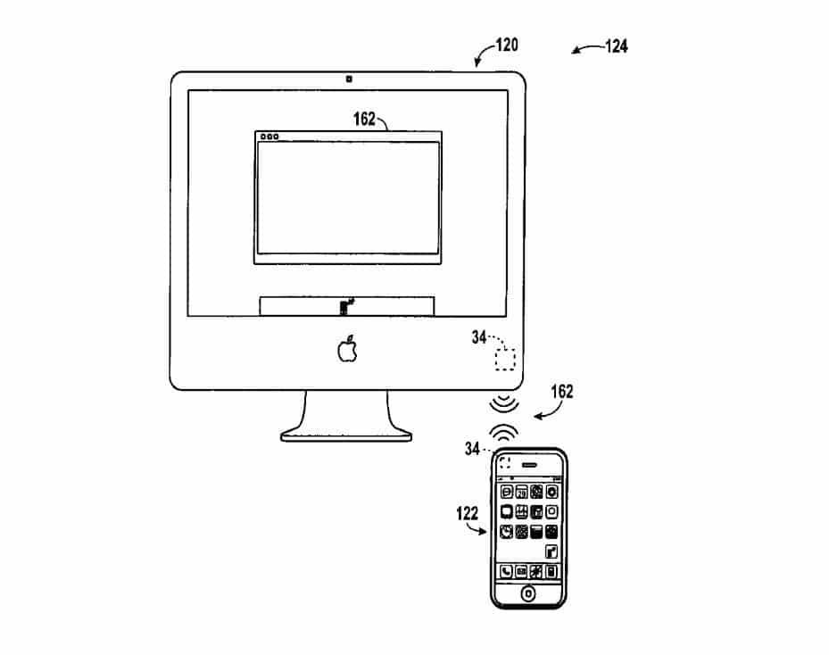 Skizze zeigt NFC-Kommunikation zwischen iMac und iPhone