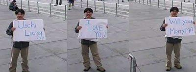 Heiratsantrag am Apple Store in New York
