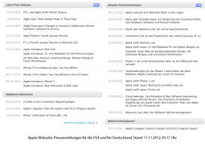 Apple-Webseite: Pressemeldungen für die USA und für Deutschland, Stand: 11.11.2012, 05:11 Uhr