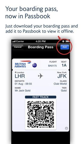 British Airways – Passbook-Feature