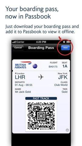 British Airways – Passbook-Feature