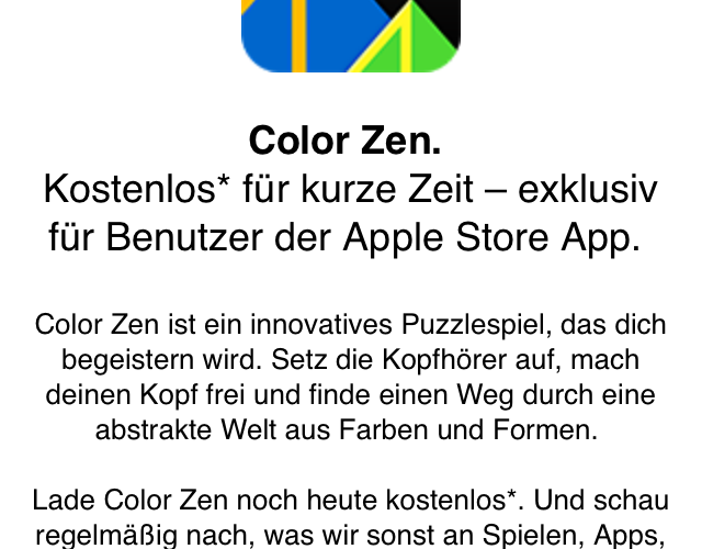 Color Zen via Apple Store App gratis