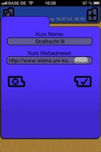 CourseMate: Kurs-Webadresse eingeben