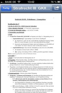 CourseMate: Dokument zum Kurs Strafrecht III geöffnet