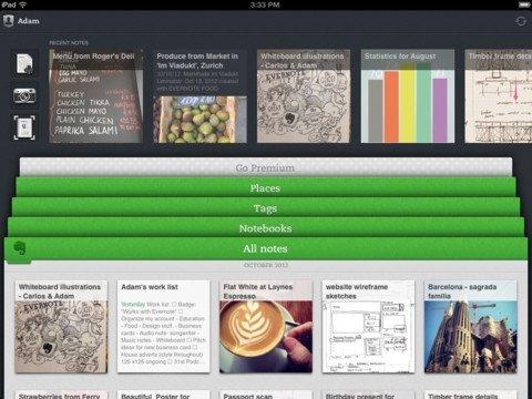 Evernote 5.0: Der neue Homescreen