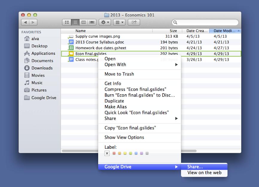 Dateien mit Google Drive auf dem Mac mit Rechtsklick teilen