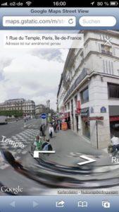 Rue du Temple, Paris, Street View via Google Maps, Foto: Google