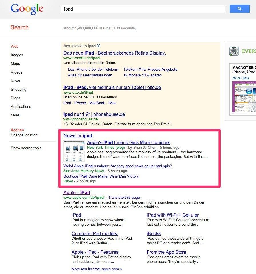 Google-News-Ergebnisse innerhalb der Google-Suche