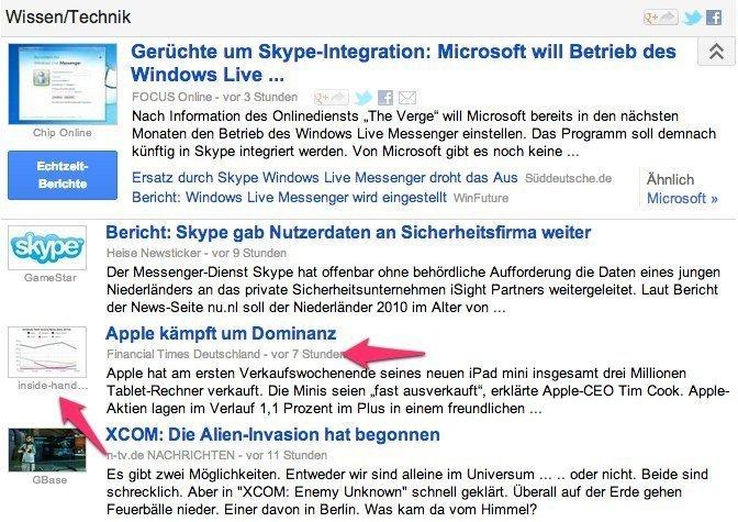 Google News: Screenshot aus dem Ressort Wissen und Technik.
