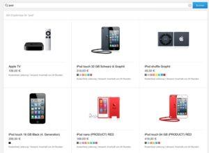 Apple-Online-Store: Neue Suchergebnis-Anzeige