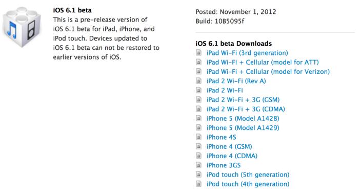 iOS 6.1 beta für Entwickler veröffentlicht