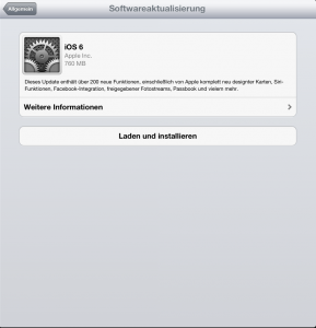 iOS 6 Softwareaktualisierung auf dem Retina-iPad