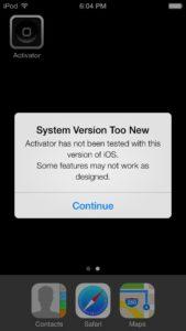 Screenshot von Fehlemeldung iOS 7 - Jailbreak-App Activator, Foto: Ryan Petrich