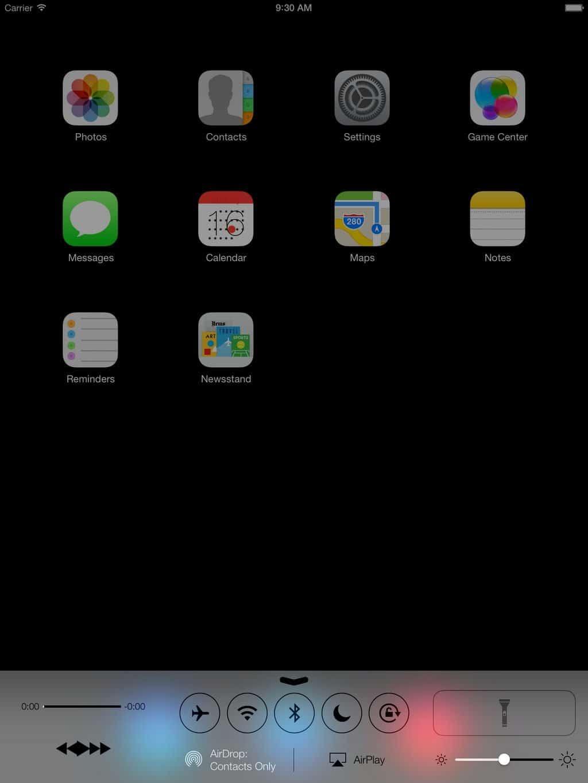 iOS 7 - Control Center auf dem iPad