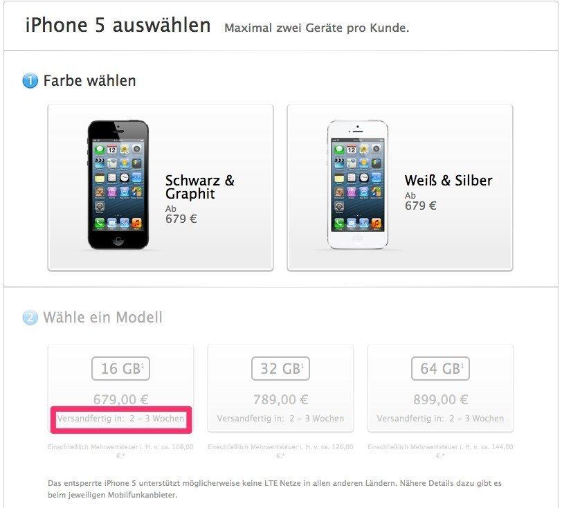 iPhone 5 Lieferzeiten, Stand 13. November 2012