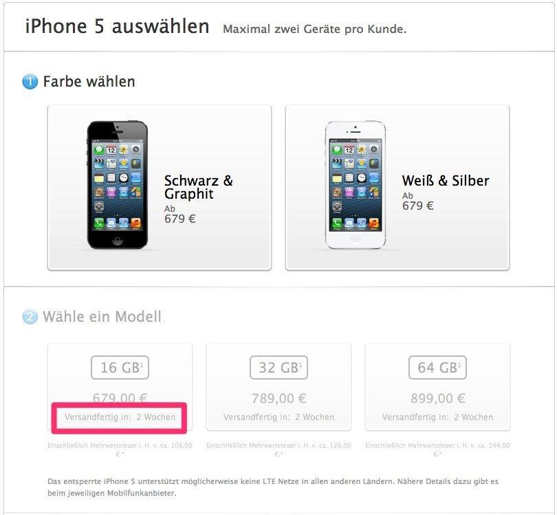 iPhone 5 Lieferzeiten, Stand 20. November 2012