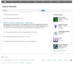 iPhone-5-Suchergebnisse auf Apple.com
