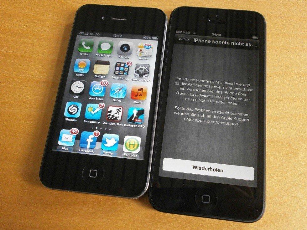 iPhone 4 und 5 im Vergleich (Frontpartie)
