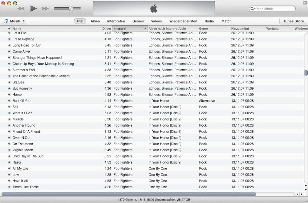 iTunes 11 Listenansicht