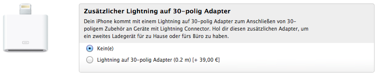 Lightning-Adapter bei iPhone-5-Bestellung