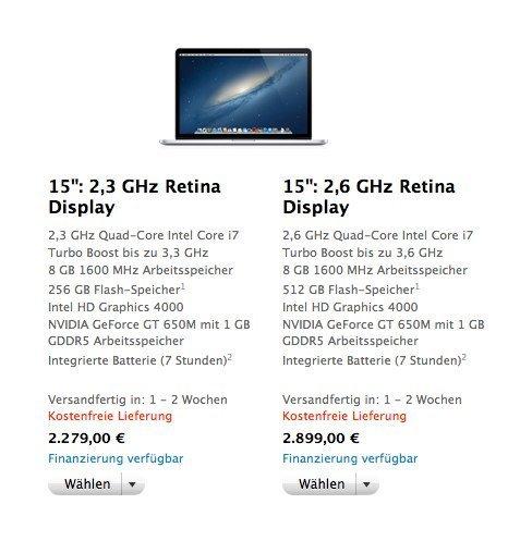 MacBook Pro Retina Lieferzeit sinkt auf 1 bis 2 Wochen