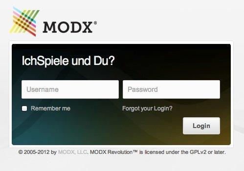 ModX Login Window