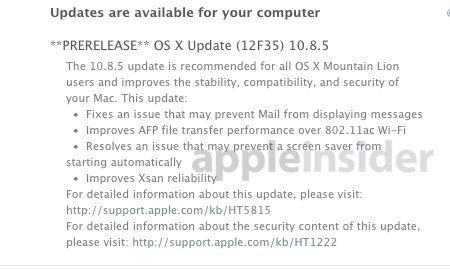 Vorabversion von OS X 10.8.5 Mountain Lion. Bild: AppleInsider