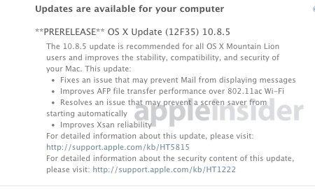 Vorabversion von OS X 10.8.5 Mountain Lion. Bild: AppleInsider