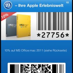 mStore führt Passbook-Coupons ein: MS Office:mac reduziert