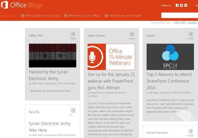 Screenshot Microsoft Office-Blog