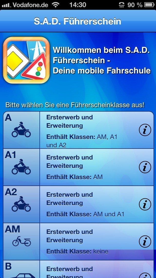 S.A.D. Führerschein-App für iPhone und iPad mit aktuellen Fragen