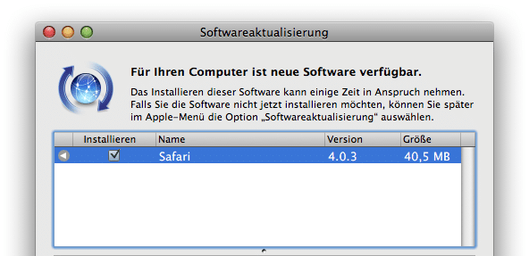 Safari Softwareaktualisierung