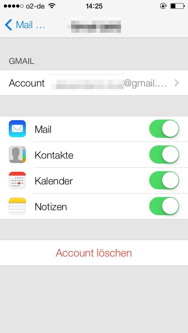 iOS 7 - Kontakte mit Gmail-Account synchronisieren