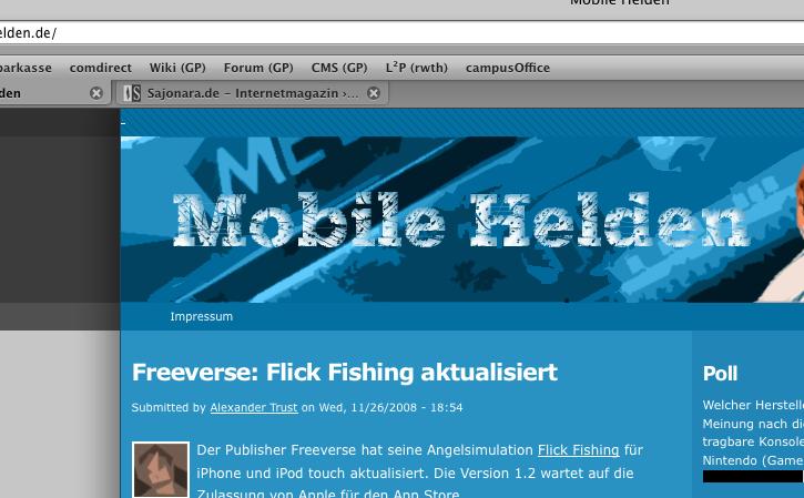 Screenshot Mobile-Helden: CSS Hintergrund klickbar