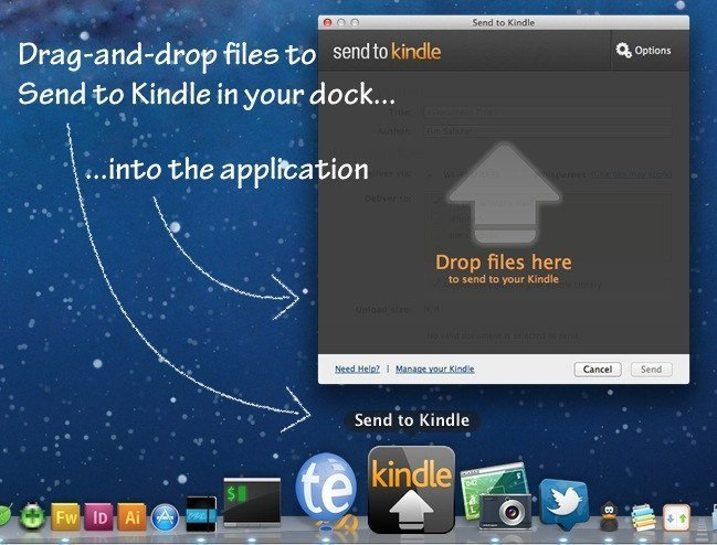 Send to Kindle Drag-and-drop