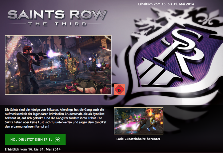 Saints Row: The Third bei Games with Gold