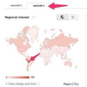 StarCraft 2: Google Trends Weltkarte (Oktober 2012)
