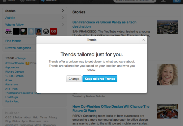 Twitter Tailored Trends
