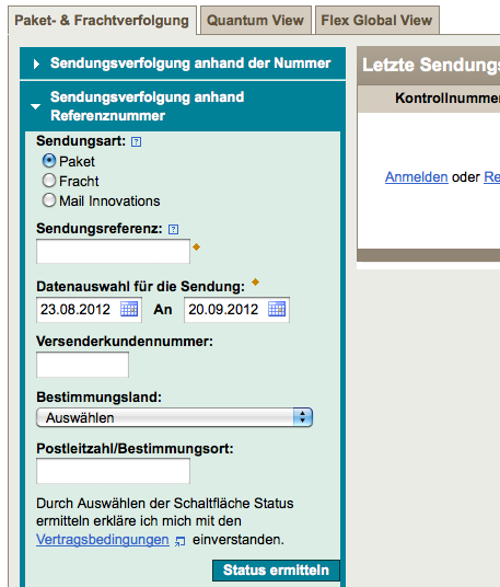 UPS Paketverfolgung - Screenshot