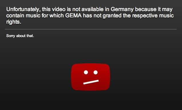 YouTube GEMA-Message