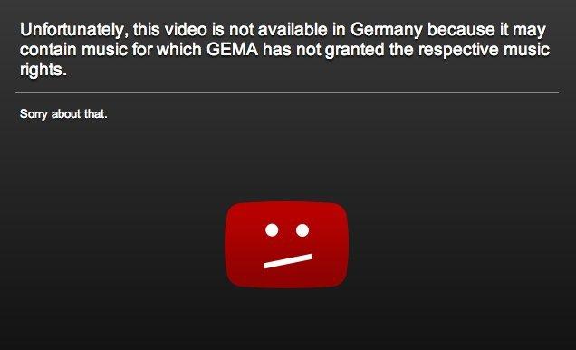 YouTube GEMA-Message